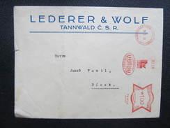 BRIEF Tanvald Tannwald Sudetenland Lewo 1933 Tree Wald Frankotype Freistempel Postfreistempel  /// O5060