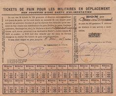 Ww1 Ticket De Pain Pour Militaires En Déplacement 1919 Puget Le Camp Colonel Moret 19x15.8cm Dos Scanné - 1914-18