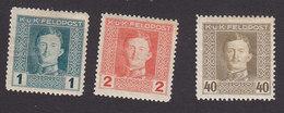 Austria, Scott #M49-M50, M60, Mint Hinged, Emperor Karl I Military Stamps, Issued 1917 - Austria