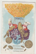 Zwerge Schütten Geld Aus Dem Ballon - Prägelitho      (170211) - Neujahr