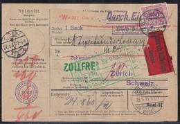 DR Paketkarte Eilbote Mif Minr.92, 95, 2x 96 Cöln 22.5.15 Gelaufen In Die Schweiz - Deutschland