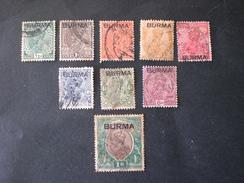 "BURMA 1937 India Postage Stamps Overprinted ""BURMA"" - Myanmar (Burma 1948-...)"