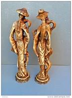 BELLES ET GRANDES STATUETTES COUPLE CHINOIS,art Asiatique, 50E15 - Art Asiatique
