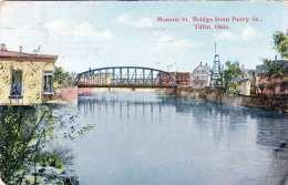 OHIO - TIFFIN, Monroe St. Bridge From Perry St., Karte Gel.1930, 2 Fach Frankierung - Etats-Unis
