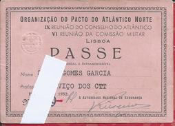 Pass The Postal Services At NATO/NATO Lisbon Meeting 1952.IX Meeting Atlantic Council.Military Commission.Rare.Unusual.