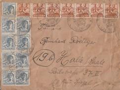 Gemeina. Brief Mif Minr.9x 947,7x 951 SST Arnstadt 15.7.48 Gel. Nach Halle - Gemeinschaftsausgaben
