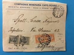 FRONTESPIZIO DI BUSTA-CARLOFORTE-CAGLIARI-COMPAGNIA  MINERARIA CAPO ROSSO-3-4-1926 - 1900-44 Victor Emmanuel III