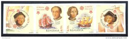 Romania - 2005 Europa Stamps 50 Years Strip IMPERFORATE MNH__(THB-3467)