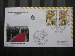 Vatican Vatikan Vaticano FDC 1990 # Visit:  Mexico Pope John Paul II. PAPA J. Paulius. Giovanni Paolo II. - Pausen