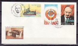 Nicaragua, Scott Cat. #1668-1670. Lenin Issue On A First Day Cover.