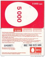 UZBEKISTAN - MTS Prepaid Card 5000 Cym, Exp.date 31/12/07, Used - Uzbekistan