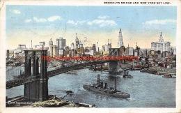 1920 Brooklyn Bridge And New York Sky Line - NY - New York