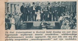 Klein Knipsel (5 X 9,5cm) De Stad Antwerpen 1935: Sint Antoniusstraat Kortrijk Wijkkermis - Kortrijk