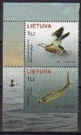 Ref. LT-819 LITHUANIA 2006 BIRDS, FISH - DUCK - RED BOOK, ANIMALS & FAUNA - NATURE - MINT MNH 2V Sc# 819