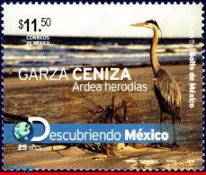 Ref. MX-V2010-25 MEXICO 2010 ANIMALS & FAUNA, DISCOVERING MEXICO, BLUE, HERON, MNH 1V