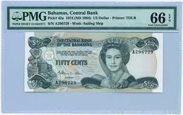 BAHAMAS 1/2 HALF DOLLAR 1974 ND 1984 PMG 66 EPQ - Bahamas