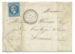S N° 22 BLEU NAPOLEON DENTELE  COLOMBE SUR L'HERS / POUR  LIMOUX 1863 - 1849-1876: Klassik