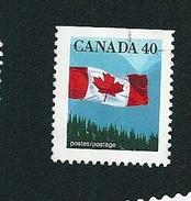 N° 1168b Drapeau Canadien (Dentelé 3 Côtés)  TIMBRE Stamp Canada (1990) Oblitéré
