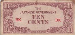 MALAYA JAPAN 10 CENTS ND 1942 P-M3a G - Billets