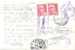 3756 PARIS Carte Postale Tampon Tour Eiffel Dest Zurich Suisse Etiquette Inconnu Retour Gandon 3 F Rose Yv 716 Ob 1947