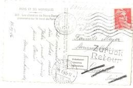 3757 PARIS 48 Carte Postale Dest Lucerne Suisse Retour ZURUCK Etiquette Inconnu Mise En Rebuts Gandon 6 F Yv 721 Ob 1947