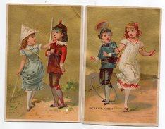 """Lot De 2 Chromos   Reprenant Le Théme """"Jeux D'enfants""""--corde à Sauter-cerceau Et Déguisements (animé) - Andere"""