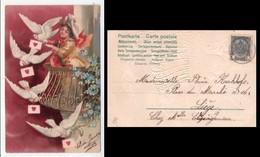 Cartolina Illustrata SAN VALENTINO (colombe Consegnano Lettere D'amore). Primi'900 - San Valentino