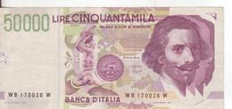 15-Banconota Da L.50.000 Bernini II^ Serie-W 170026 W-Condizione:Circolata - [ 2] 1946-… : République