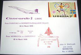 BA CONCORDE 2 MONROVIA-CAPETOWN 1976-SCARCE COVER