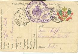 CARTOLINA POSTALE IN FRANCHIGIA, REGIO ESERCITO -5° REGG. ART. DA FORTEZZA,,COMANDO 8° GRUPPO-1916,POSTE MESTRE ,BORELLO - 1914-18