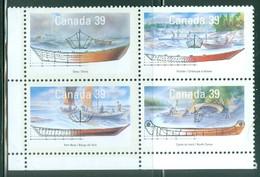 Canada 1990 Y&T 1135/38 Bloc De 4 Tbrs Mint Petites Embarcations Du Canada