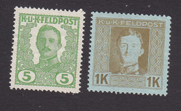 Austria, Scott M72, M82, Mint No Gum, Emperor Karl I Military Stamps, Issued 1918 - Austria