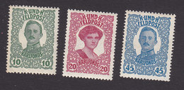 Austria, Scott #MB1-MB3, Mint Hinged, Emperor Karl I And Empress Zita Military Stamps, Issued 1918