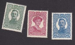 Austria, Scott #MB1-MB3, Mint Hinged/No Gum, Emperor Karl I And Empress Zita Military Stamps, Issued 1918 - Austria