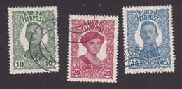 Austria, Scott #MB1-MB3, Used, Emperor Karl I And Empress Zita Military Stamps, Issued 1918 - Austria