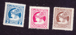 Austria, Scott #MP1, MP3-MP4, Mint Hinged, Mercury Military Newspaper Stamps, Issued 1916 - Autriche