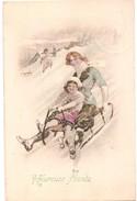 (sports D´hiver) Descente En Luge: Mère Et Sa Fille, 1912. - Sports D'hiver