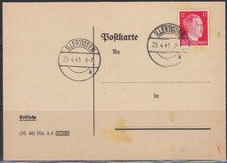 Germany (Deutsches Reich) 25.IV.1945 Illertissen; Postal (stamped) Stationery - Allemagne