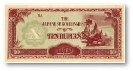 BURMA ( Now Myanmar ) - WWII - Japanese Occupation - 10 Rupees - ND ( 1942 - 44 ) - P 16.b - Serie BA - W/o Wmk - Myanmar