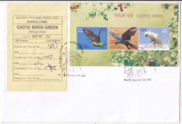 Security Press / Packing Label Tied FDC Exotic Birds, Bird, Cape Parrot, Hyacinth Macaw, Esser Sulphur-Crested Cackatoo