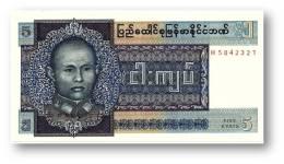 BURMA ( Now Myanmar ) - 5 Kyats - ND ( 1973 ) - P 57 - UNC. - Serie JH - Union Of Burma Bank - Myanmar