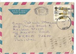 Great Britain Airmail 1996 Whooper Swan Bird 41p Slogan Cancellation To Pakistan - Canards