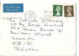 Great Britain 35p, 2p Machine Stamps Airmail To Pakistan.