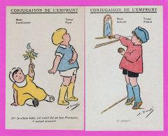 Ww1 Propagande Avec 6 Fiches Dessin D'enfants Conjugaison De L'Emprunt Par Illustrateur  Simone BougléTbe 9x14 Cm - Documents