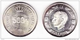 500 Frs - Argent / Zilver  - Baudouin 1er - 1990 - BELGIEN < En Allemand (1/13) - 1951-1993: Baudouin I