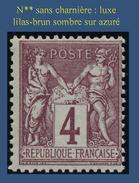 N° 88 GROUPE ALLÉGORIQUE SAGE TYPE II 1877 -LILAS BRUN SOMBRE SUR AZURÉ - N** SANS TRACE DE CHARNIÈRE : LUXE - 1876-1898 Sage (Type II)