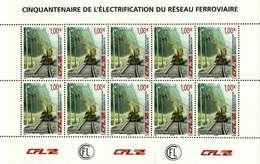 Luxembourg Feuillet De 10 Timbres à 1 Euro  50.Anniversaire Electrification Des Chemins De Fer CFL 2006
