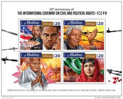 MALDIVES 2016 ** ICCPR Nelson Mandela Mahatma Gandhi M/S - OFFICIAL ISSUE - A1642 - Mahatma Gandhi