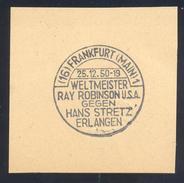 Germany Deutschland 1950 Cancellation: Boxing Box Boxe; World Champion Ray Sugar Robinson - Hans Stretz  K.o. Frankfurt