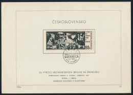 Czechoslovakia CSSR 1966 FDC Sheet Mi 1637 Int. Brigades In Spain Pablo Picasso - FDC